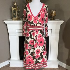 Boden Pink/Brown Floral Sweater Dress